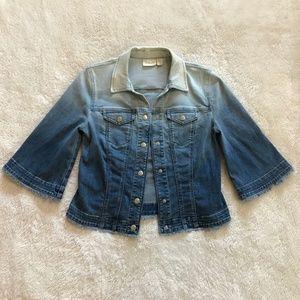 Chico's Ombre Jean Jacket Blue Denim Fringe 0 S